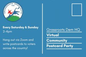 grassroots dem hq virtual community postcard party